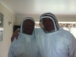Melvin and Harry in their new bee suits
